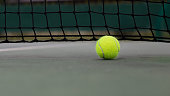 Tennis court with tennis ball close up