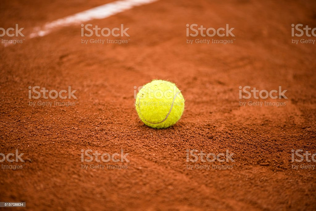 Tennis court with tennis ball stock photo