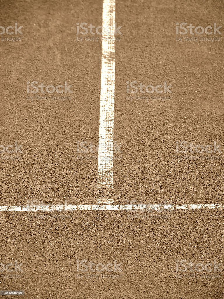 tennis court with t-line stock photo