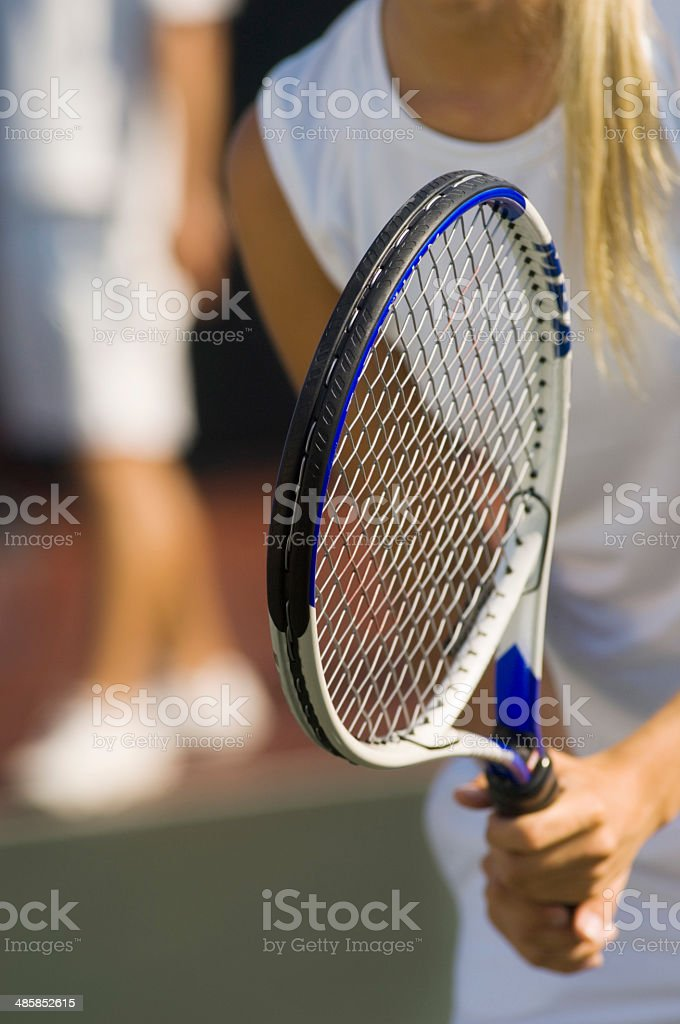 Tennis Doubles Player Waiting For Serve stock photo