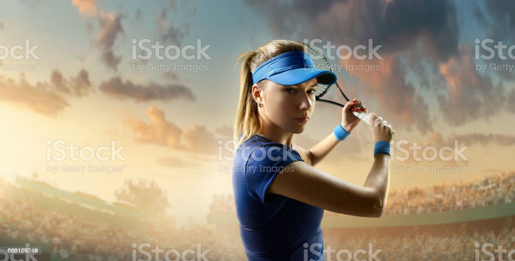 Tennis: Female sportsman in action stock photo