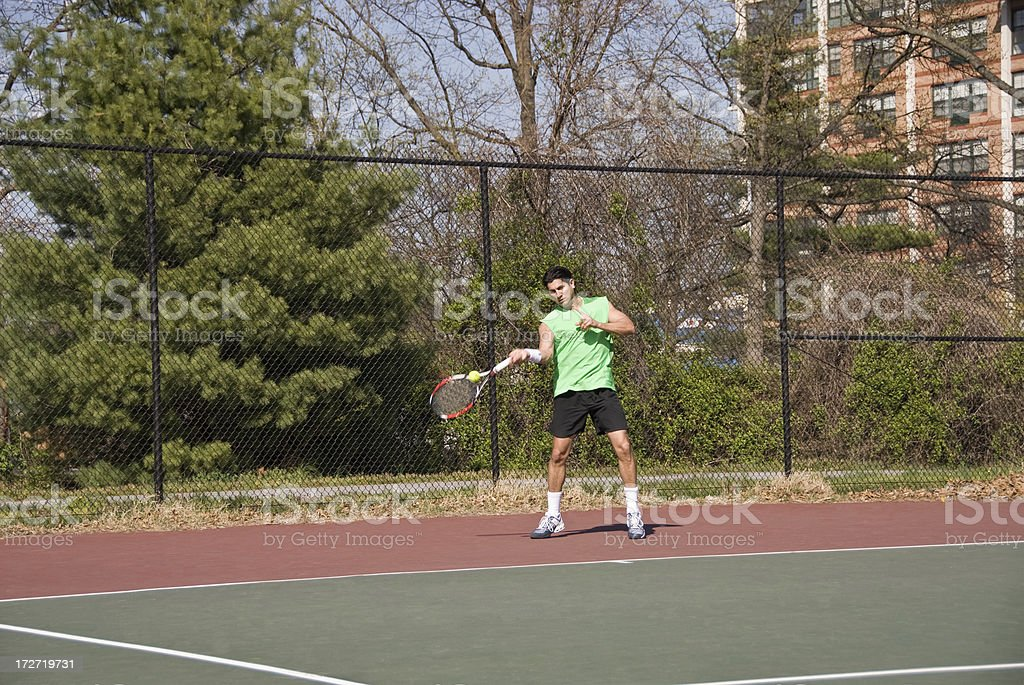 Tennis Forehand by young professional player royalty-free stock photo
