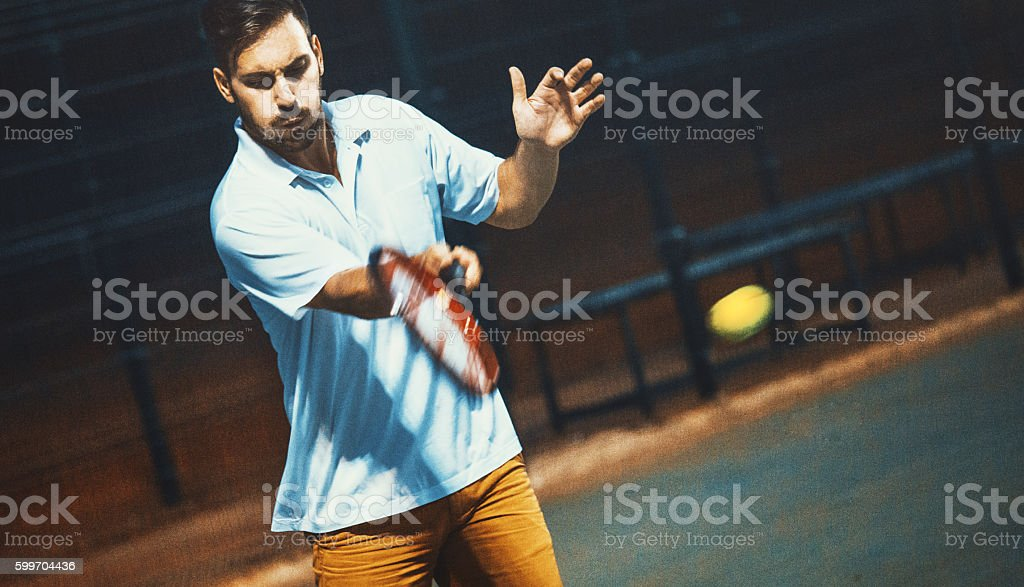 Tennis forehand stroke. stock photo