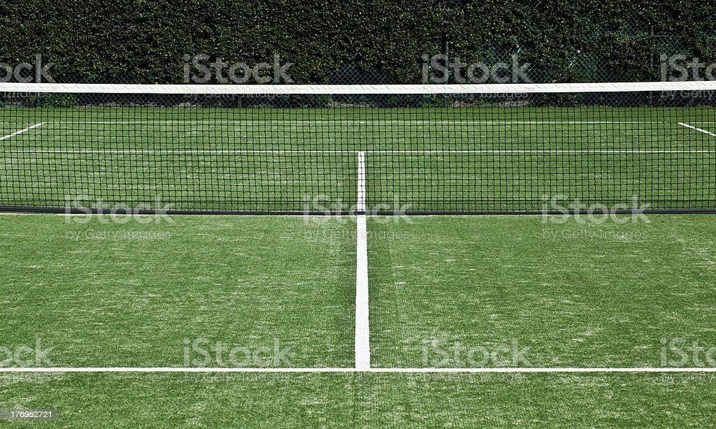 Tennis grass court white markings and net stock photo