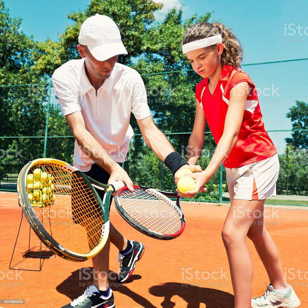 Tennis lesson royalty-free stock photo