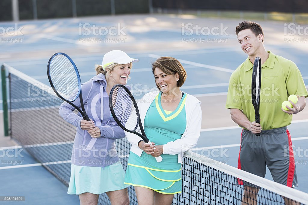 Tennis lesson stock photo