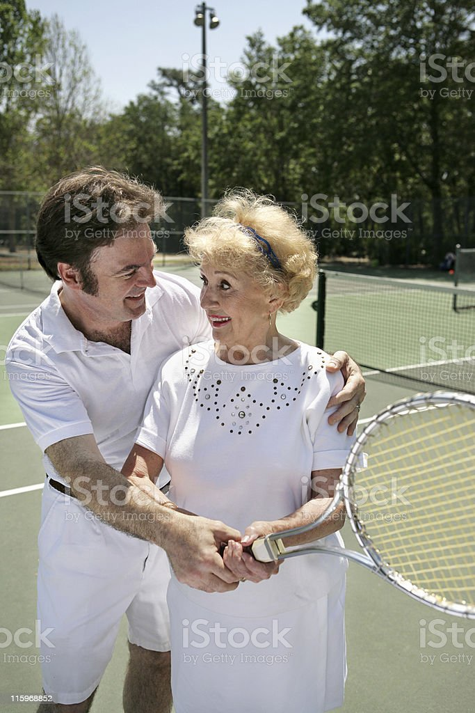 Tennis Lesson Vertical royalty-free stock photo