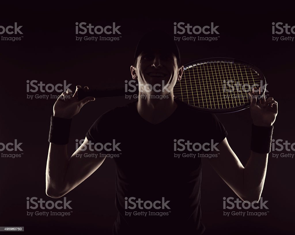 tennis man smiling stock photo