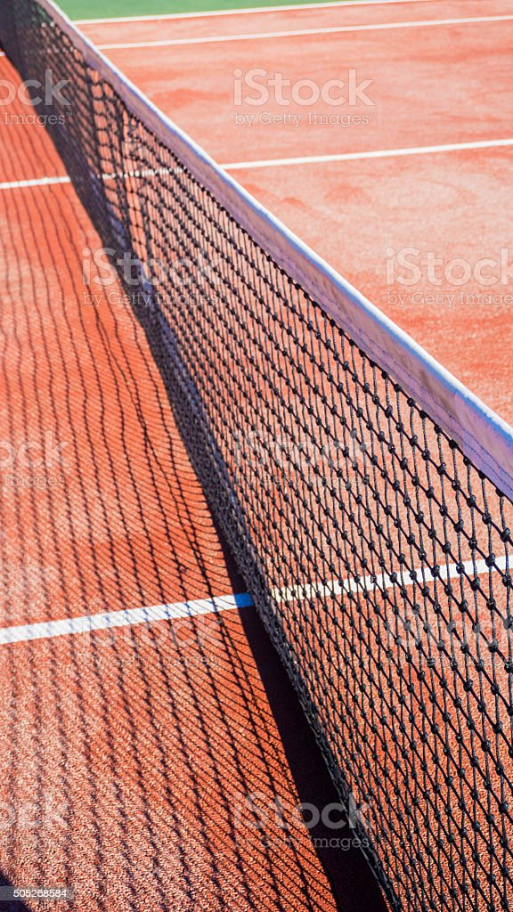 Tennis net on a tennis clay court stock photo