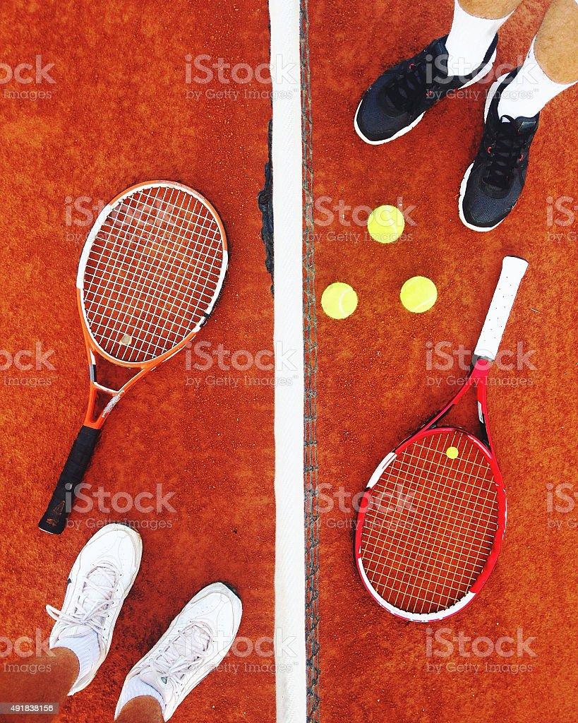 Tennis opponents stock photo