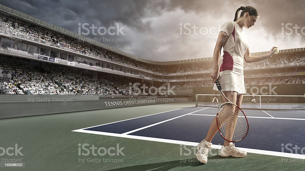 Tennis Player About To Serve stock photo
