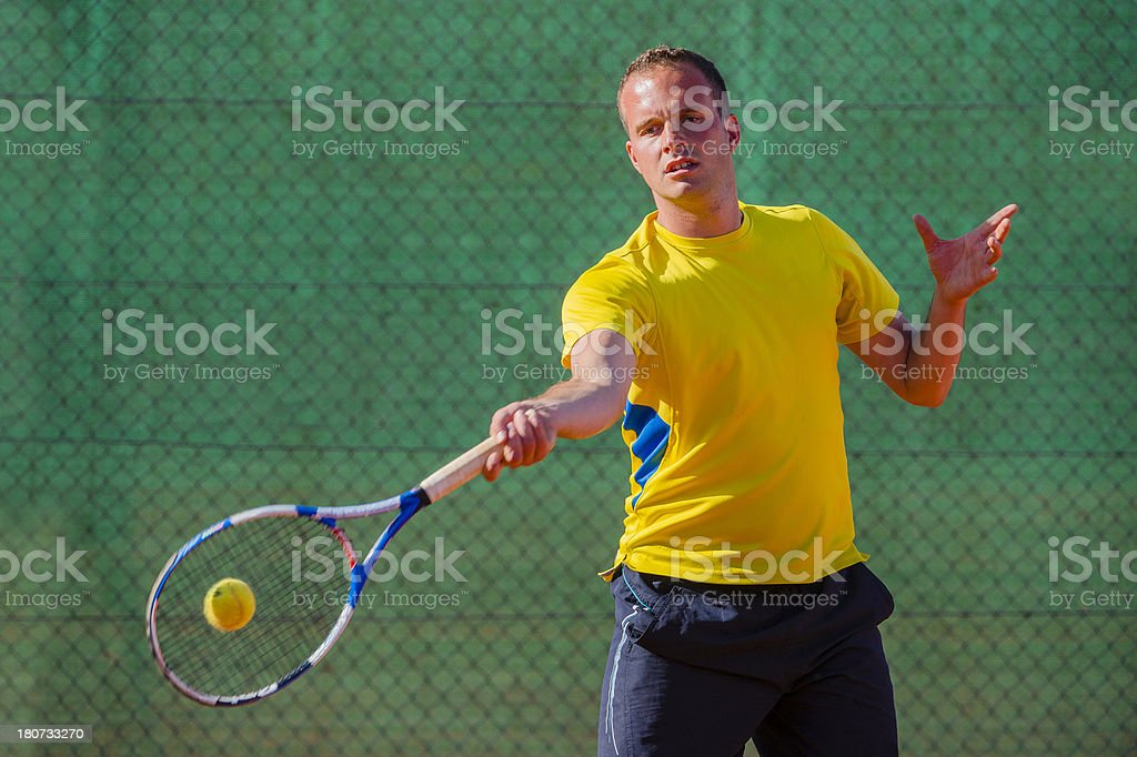 Tennis Player at Forehand Drive stock photo