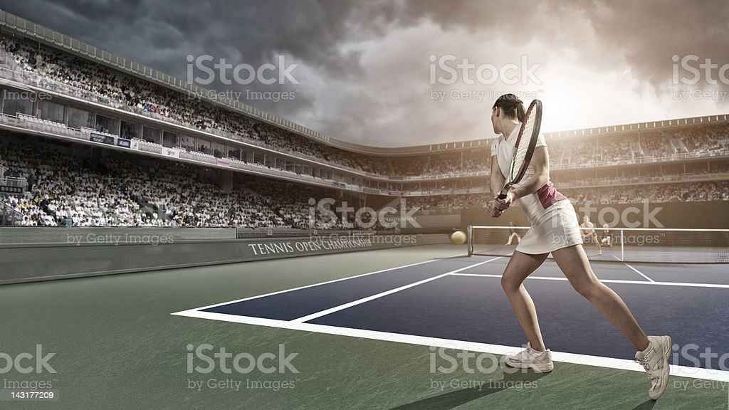 Tennis Player Backhand royalty-free stock photo