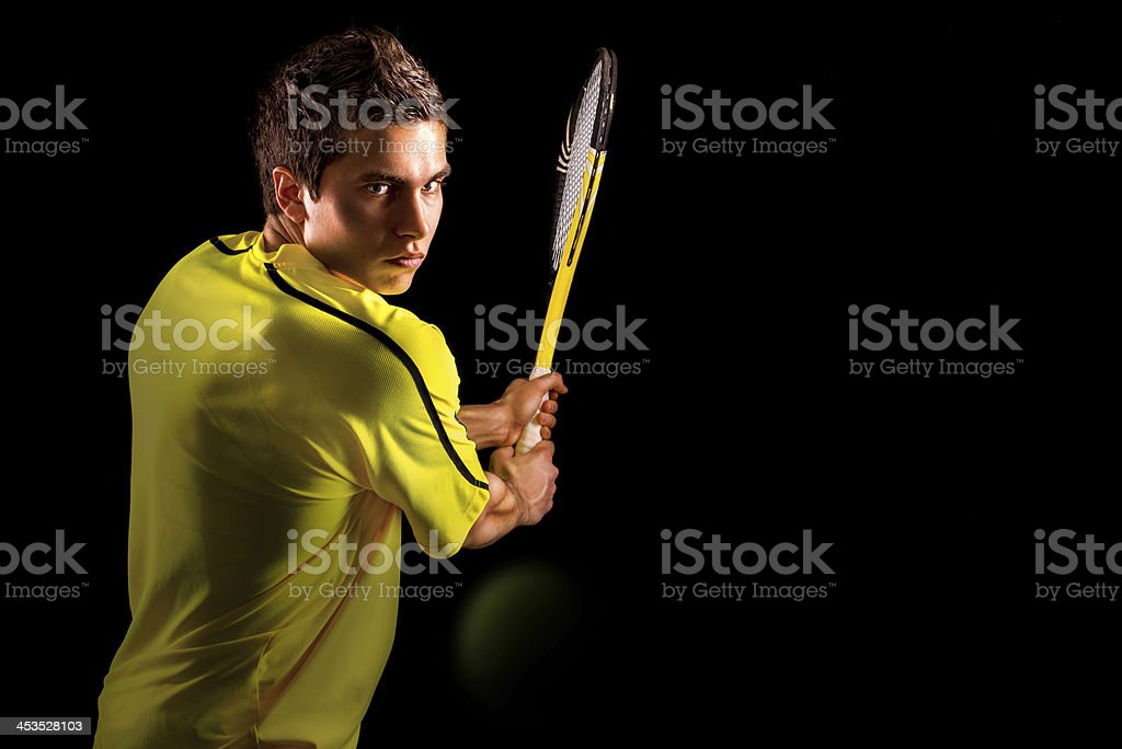 Tennis Player Backhand Portrait stock photo
