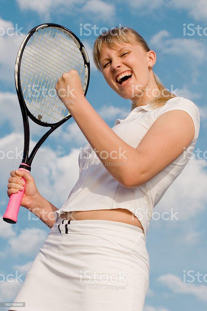 Tennis player enjoys royalty-free stock photo