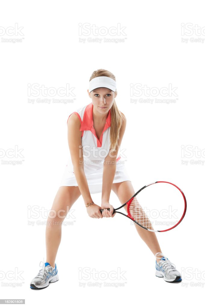 Tennis Player Full Body Isolated on White royalty-free stock photo
