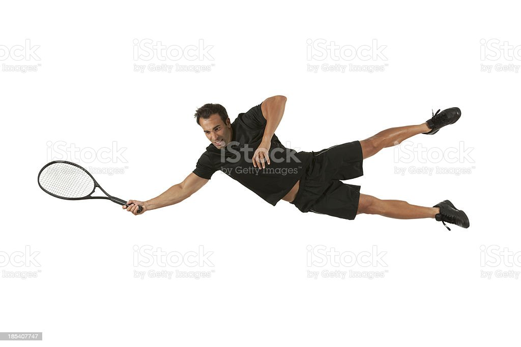 Tennis player in action stock photo