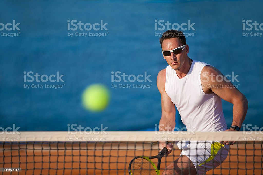 Tennis player in the action royalty-free stock photo