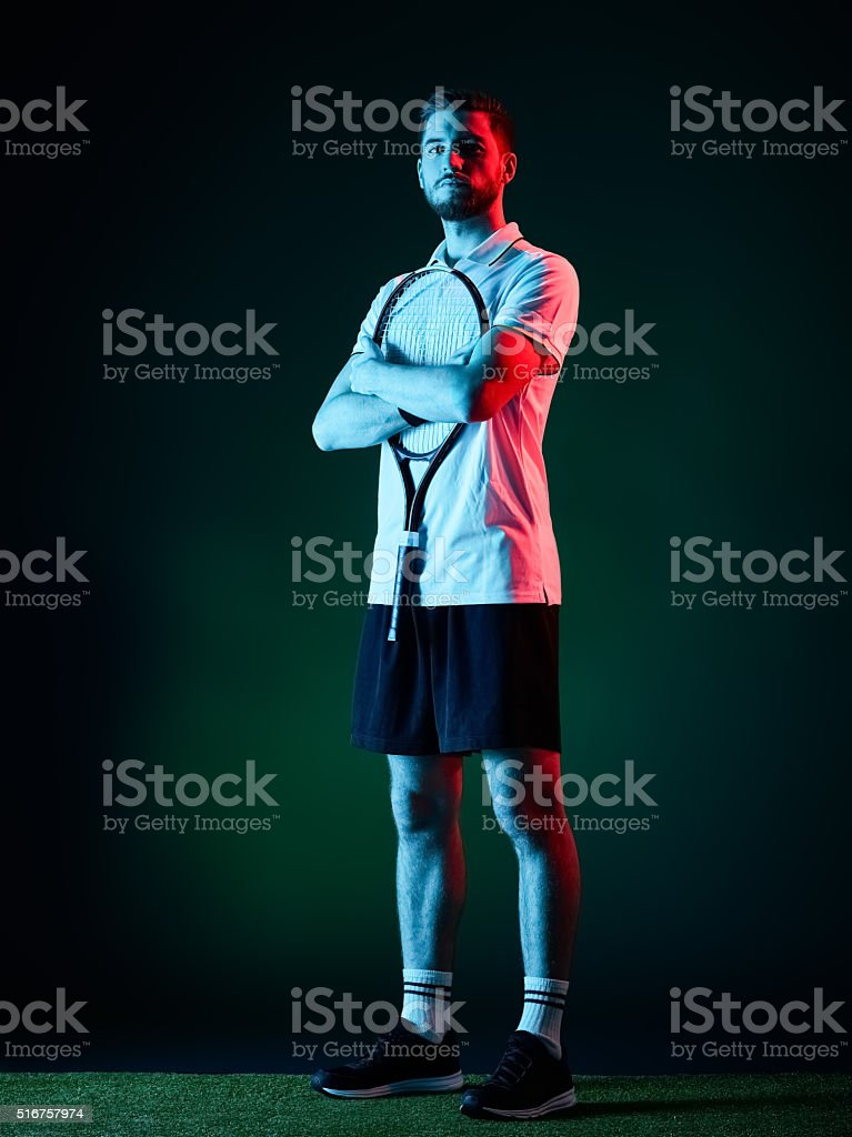 tennis player man isolated stock photo