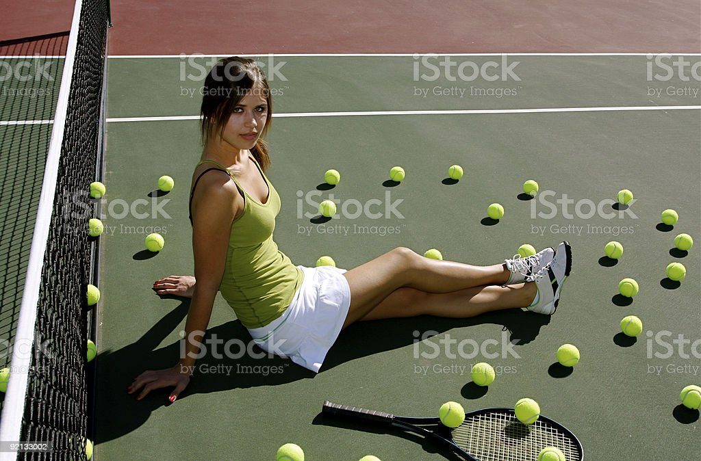 Tennis player on the court royalty-free stock photo