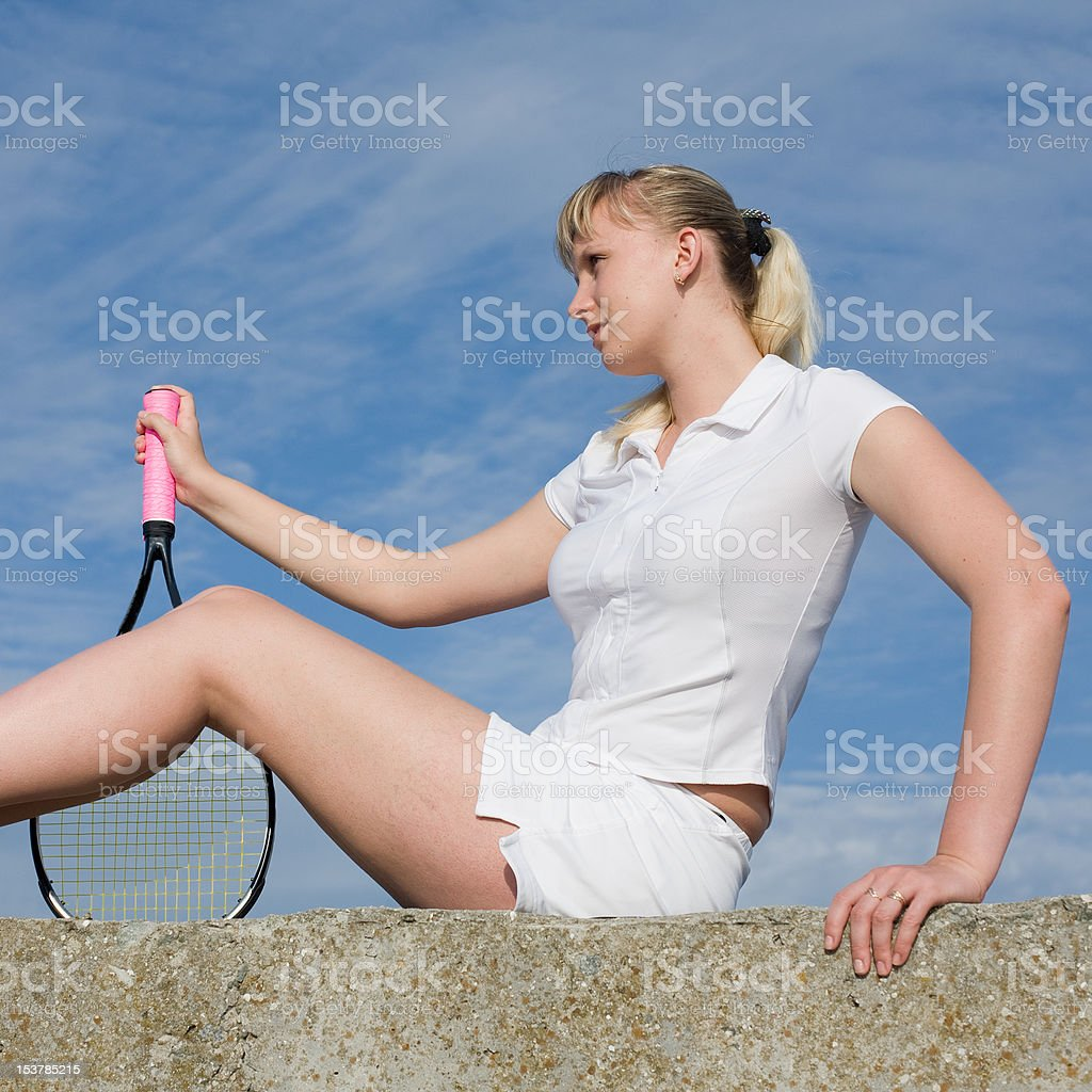 Tennis player outdoors royalty-free stock photo