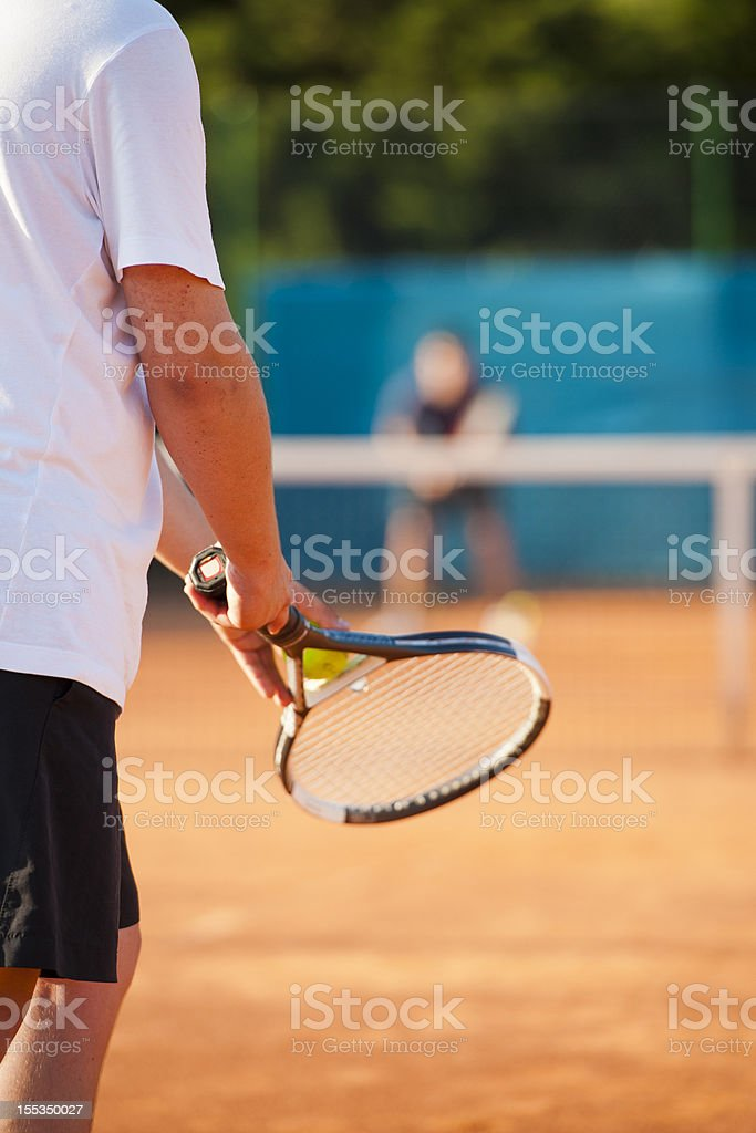 Tennis player ready for service royalty-free stock photo