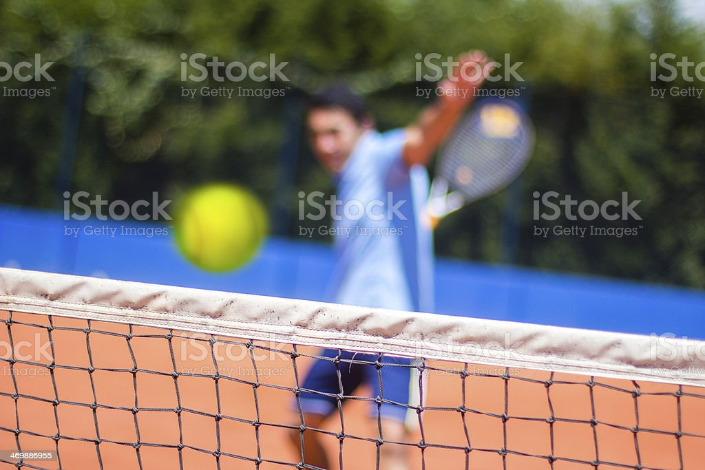 Tennis player ready to hit the fast ball royalty-free stock photo
