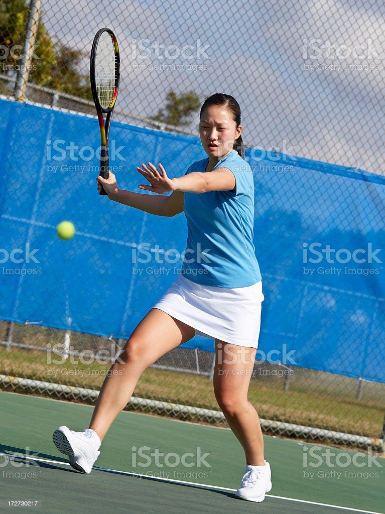 Tennis player  running forehand royalty-free stock photo
