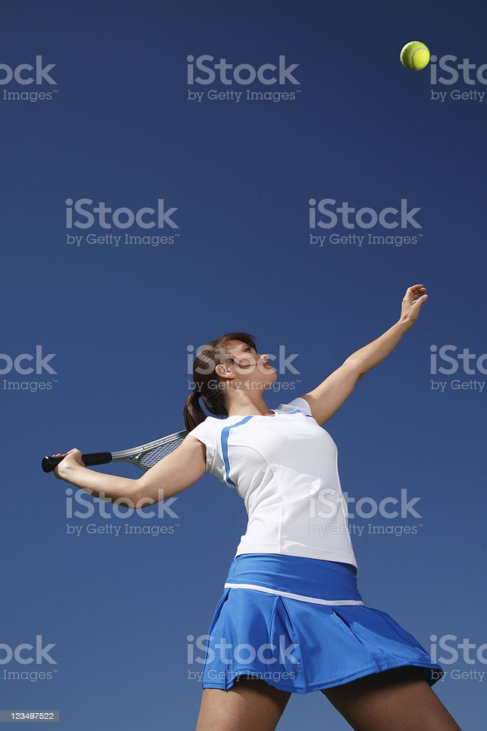 Tennis Player Serving the Ball royalty-free stock photo
