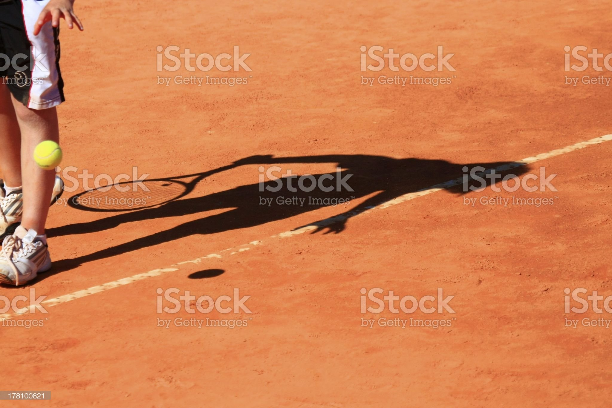 Tennis Player shadow royalty-free stock photo