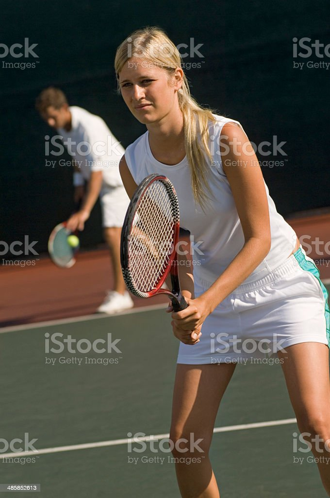 Tennis Player Waiting For Serve stock photo