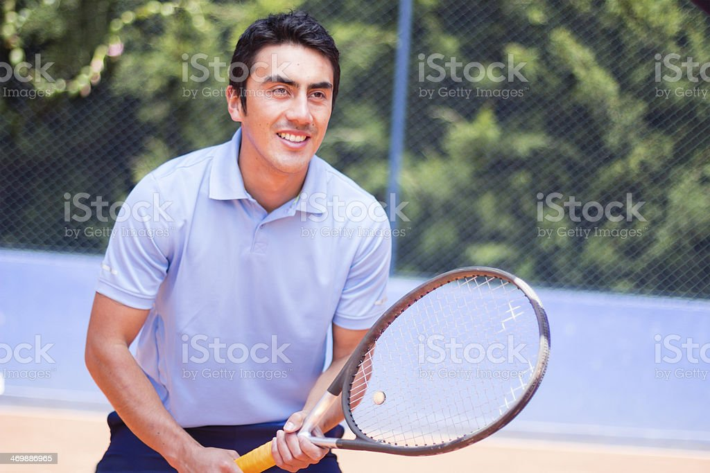 Tennis player waiting the ball royalty-free stock photo
