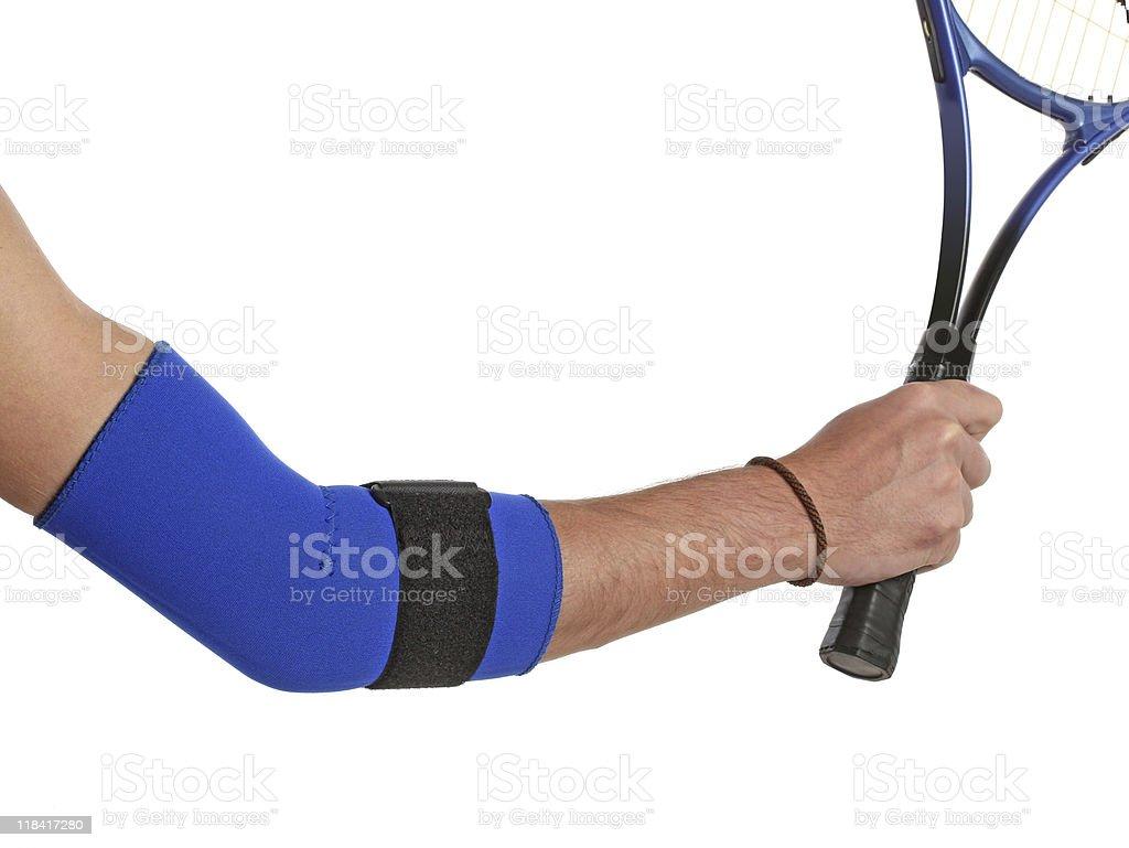 Tennis player wearing an elbow bandage stock photo