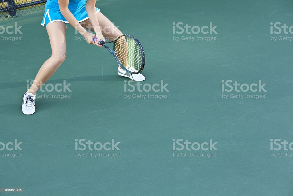 Tennis Player With Racket Ready for Serve, Copy Space Available royalty-free stock photo