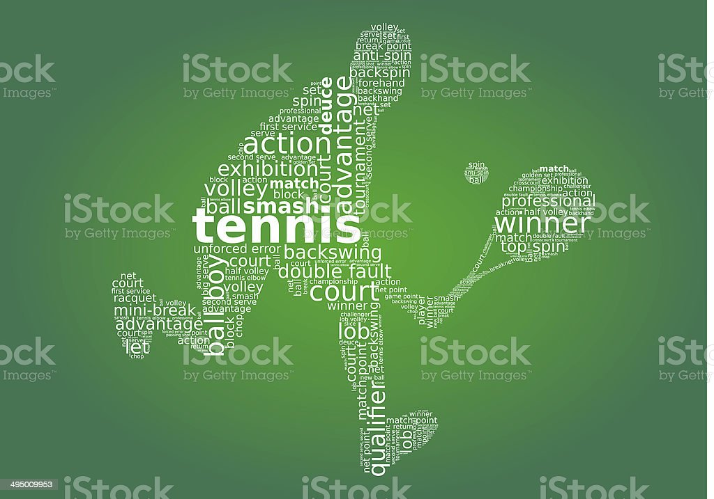 Tennis player word cloud concept isolated on white background stock photo