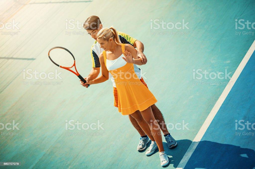 Tennis practice. stock photo