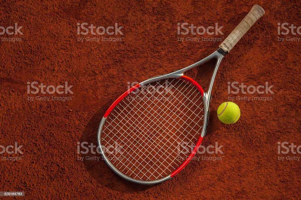 Tennis Racket And Ball On The Court stock photo