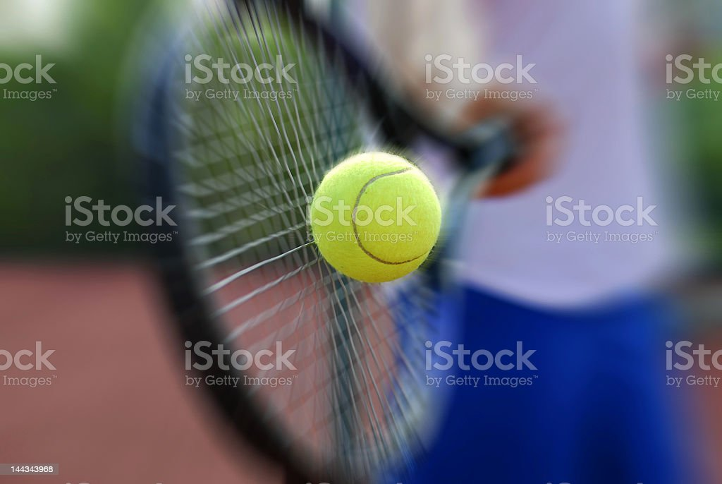 Tennis racket and ball stock photo
