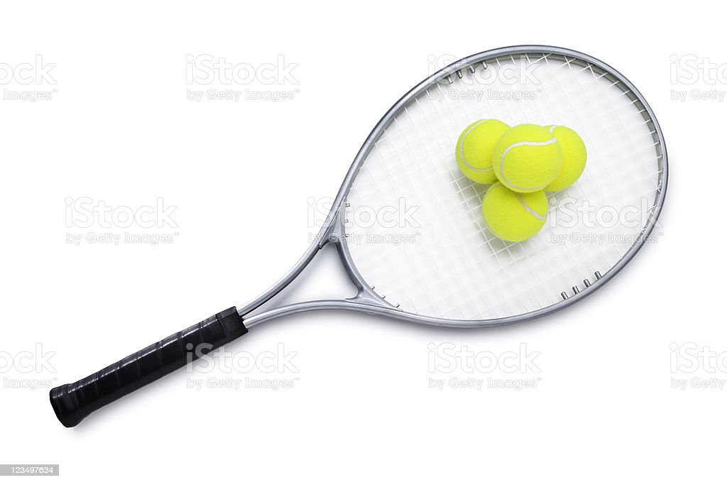 Tennis Racket and Balls stock photo