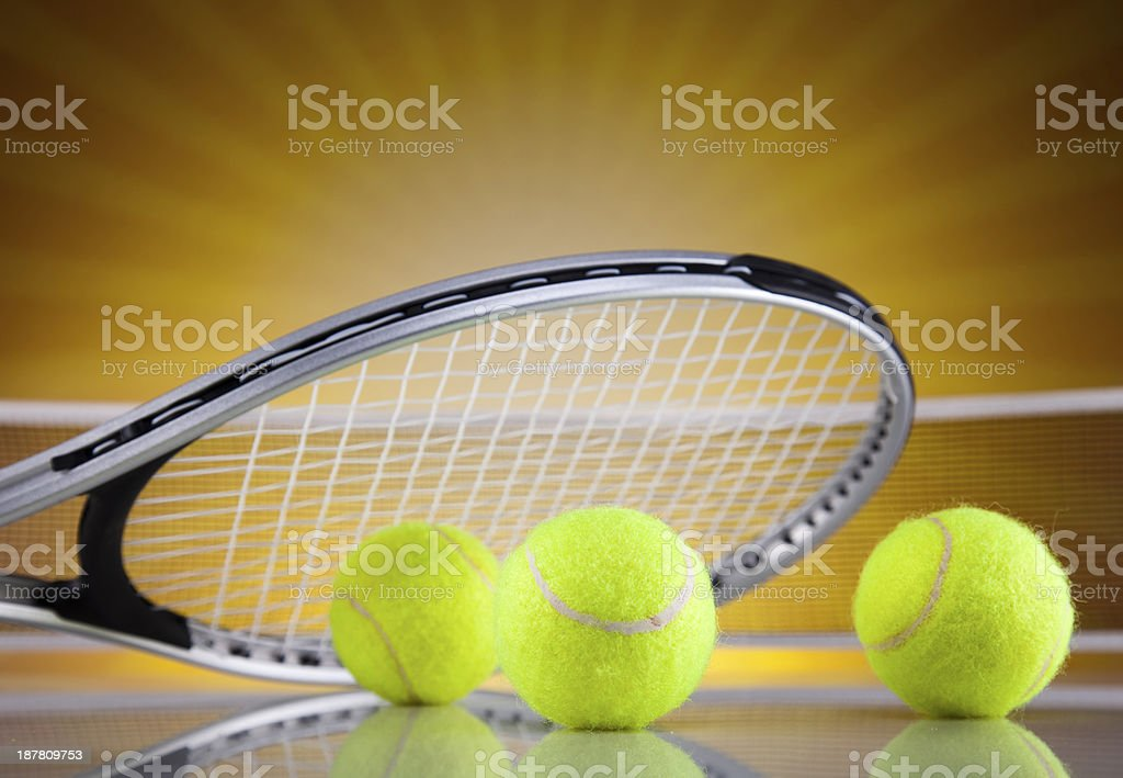 Tennis racket and balls royalty-free stock photo