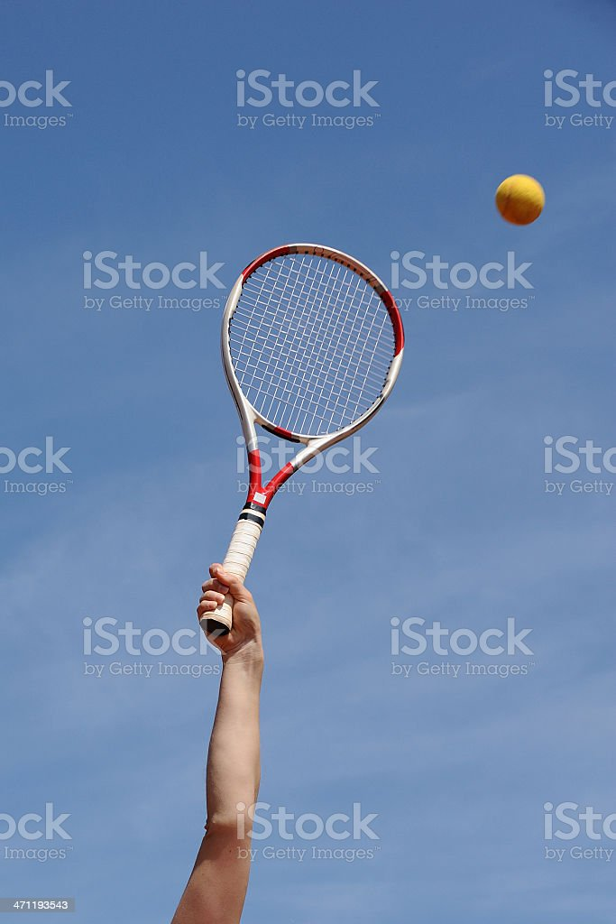 Tennis racket and the ball stock photo