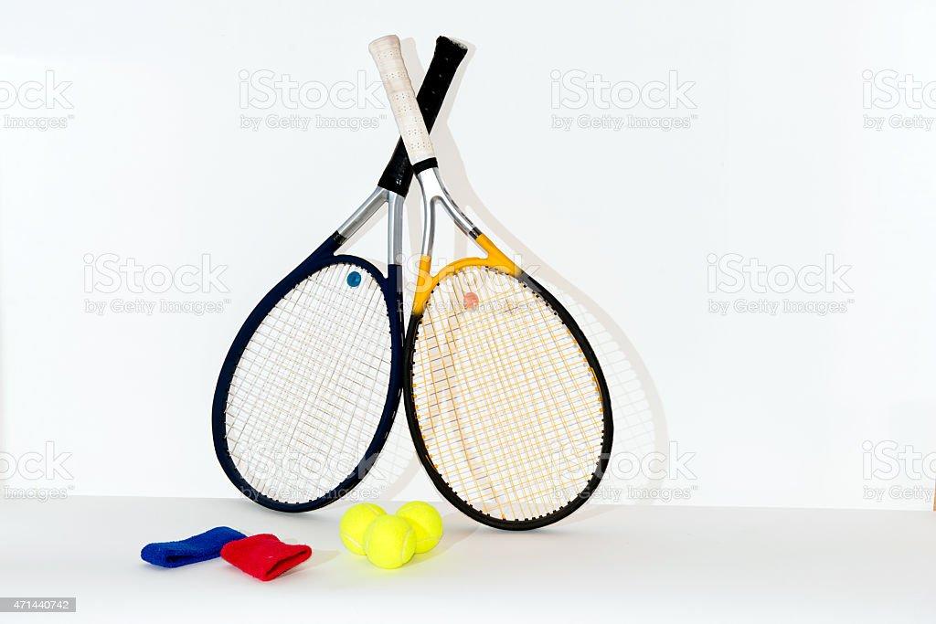 Tennis racket, ball. stock photo