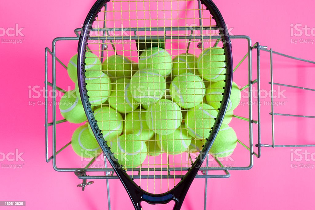 Tennis racket on balls stock photo