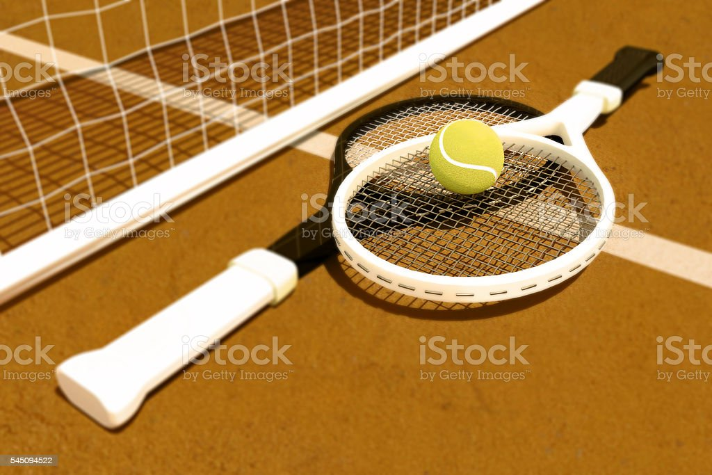 Tennis; racket; tennis clay court stock photo