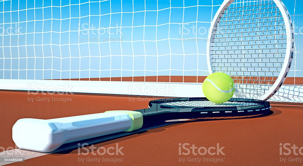 Tennis; racket; tennis clay court, sky stock photo
