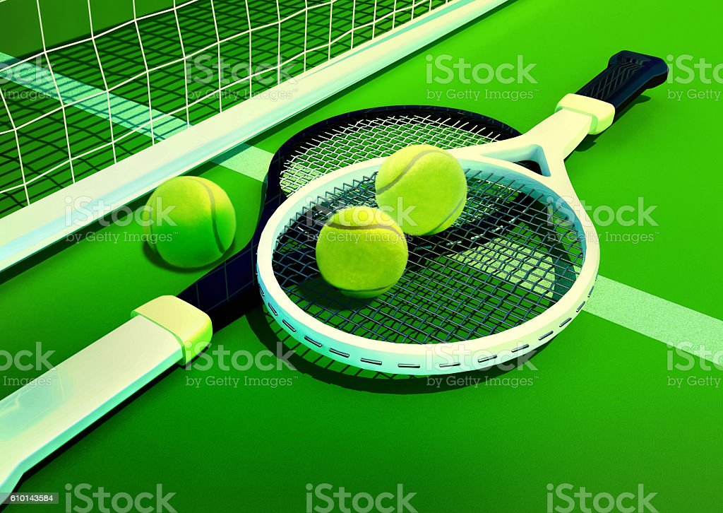 Tennis; racket; tennis grass court stock photo