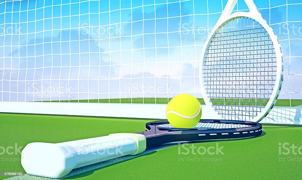 Tennis; racket; tennis grass court, sky stock photo