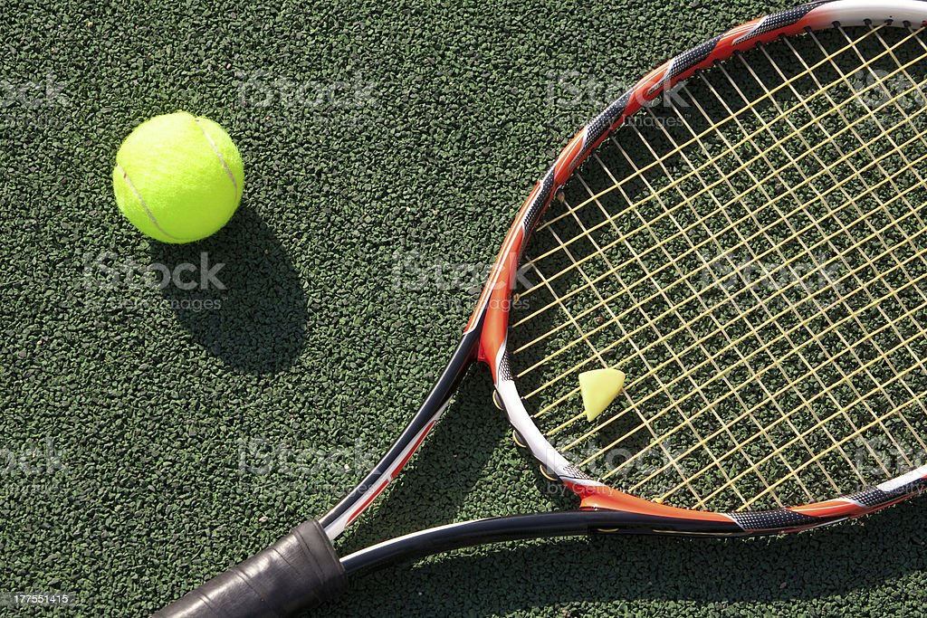 tennis racket with a ball royalty-free stock photo