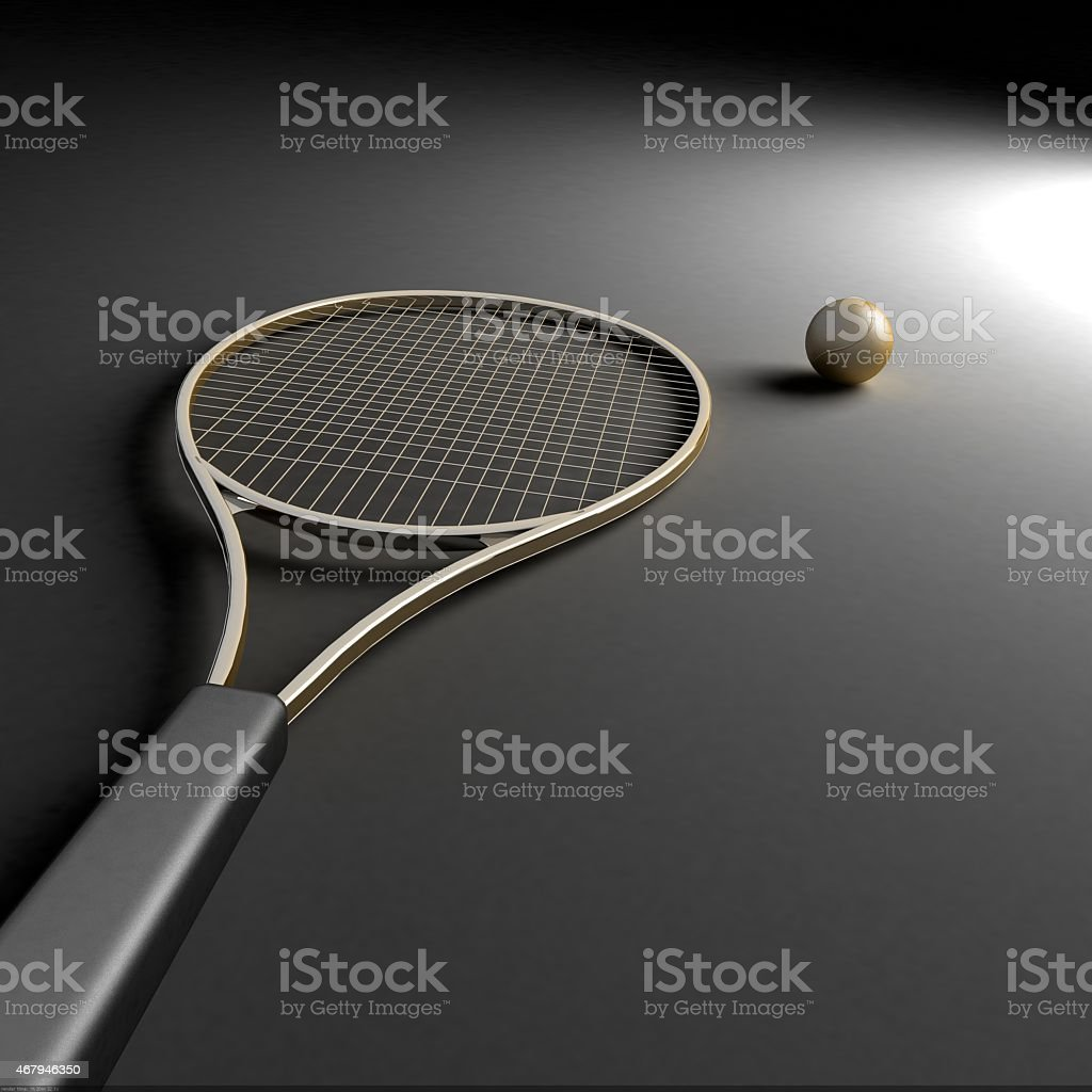 Tennis racket with golden ball on highlight stock photo