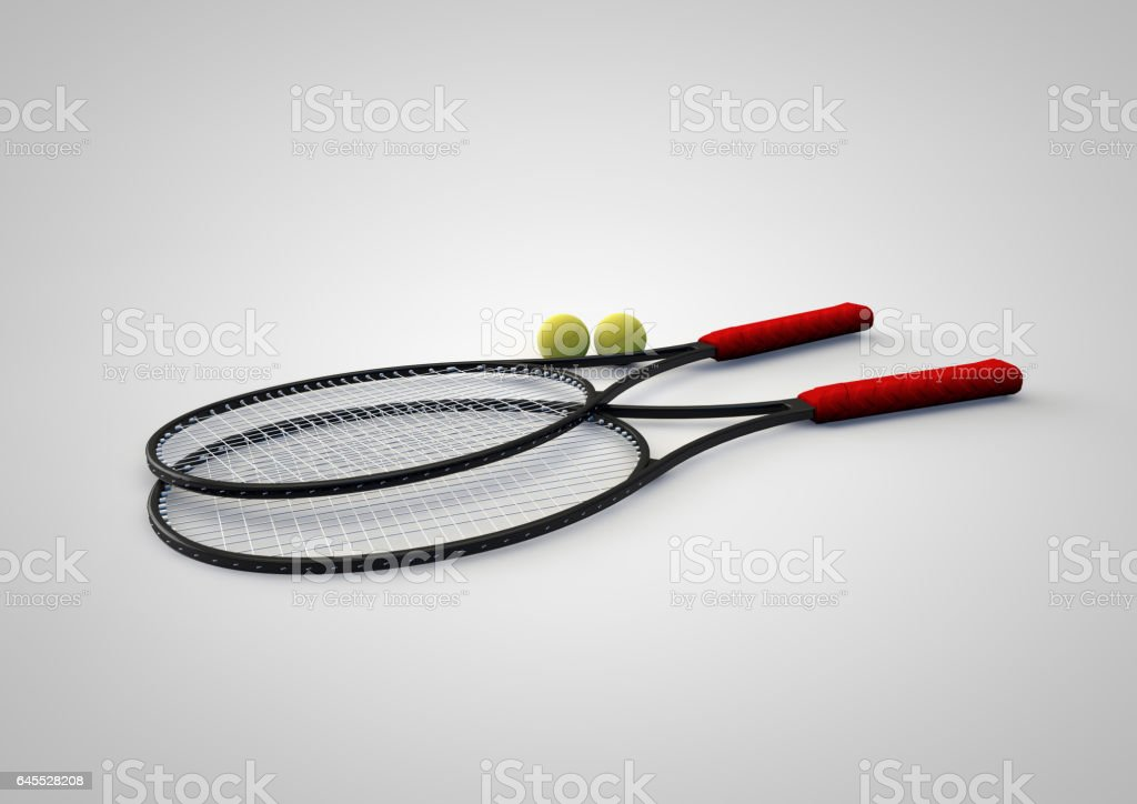 Tennis rackets and balls stock photo